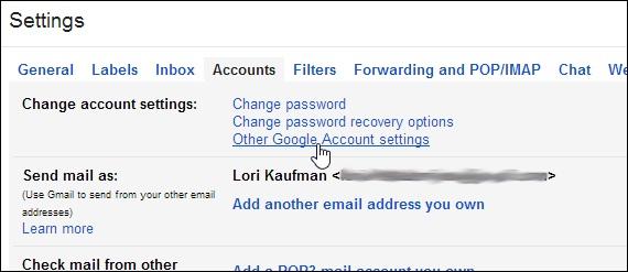 如何删除Gmail帐户更改帐户设置