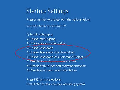 在Windows 10步骤6中进入安全模式