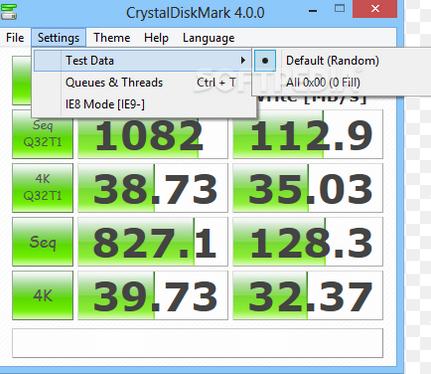 使用CrystalDiskMark-2测试硬盘速度