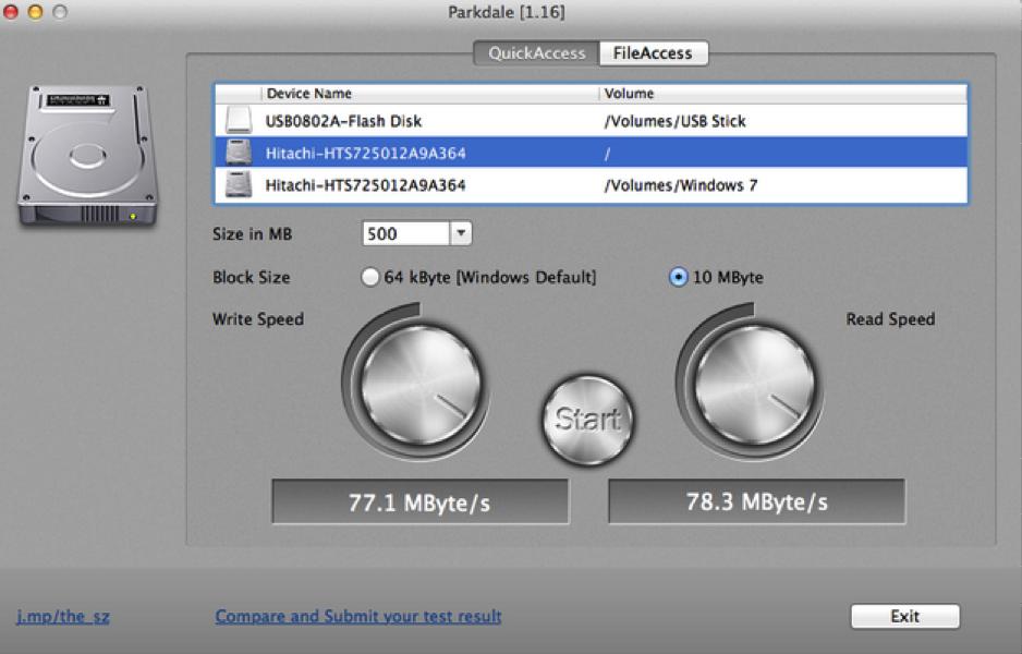 Mac-Parkdale上的硬盘速度测试
