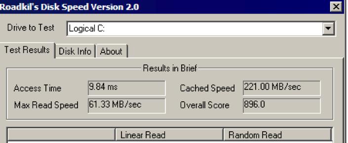 测试硬盘速度 -  RoadKil速度测试-1