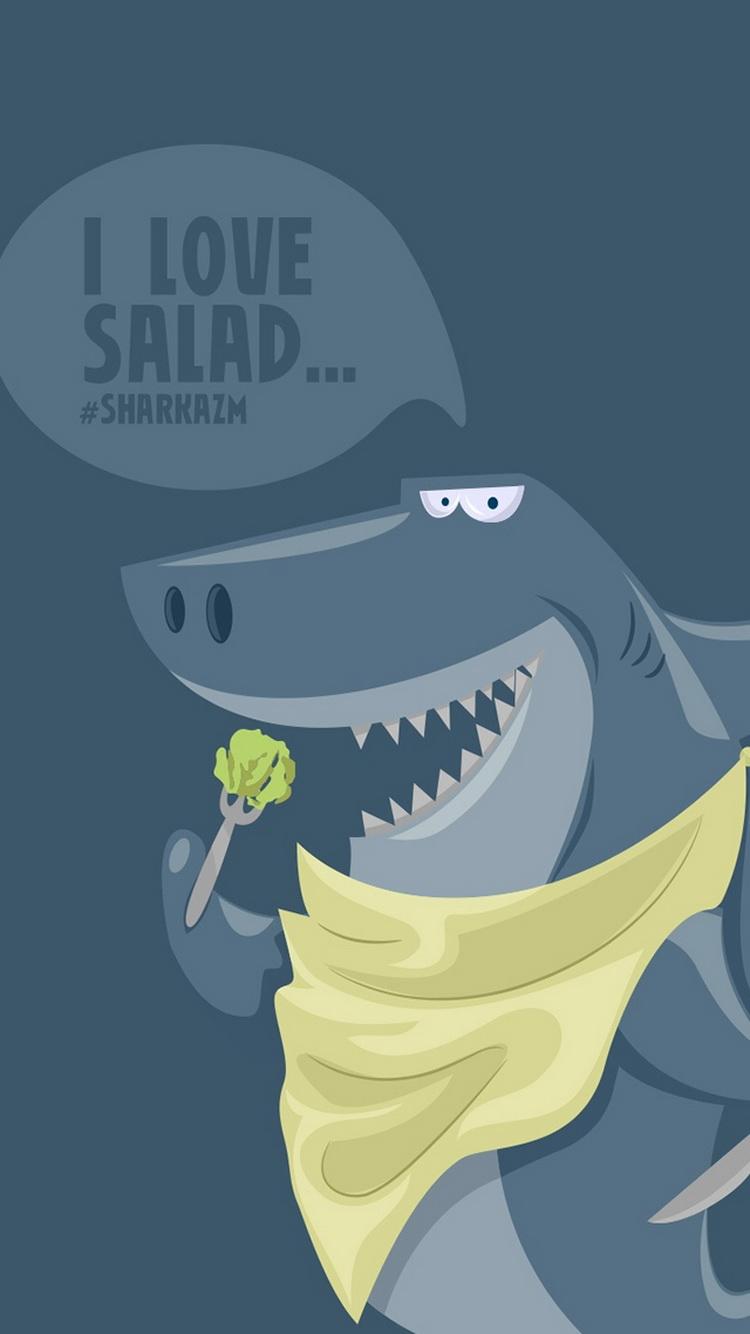 20个有趣的iphone壁纸 - 搞笑鲨鱼