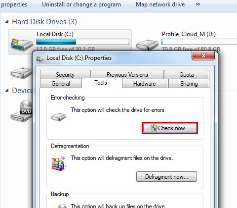 运行硬盘检查以修复蓝屏bccode 9f-step 6