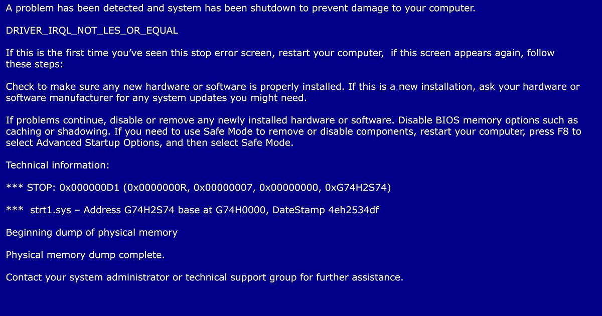 蓝屏错误停止代码是什么样的
