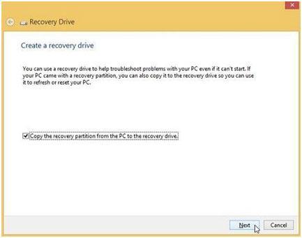 使用USB恢复驱动器恢复Windows 8