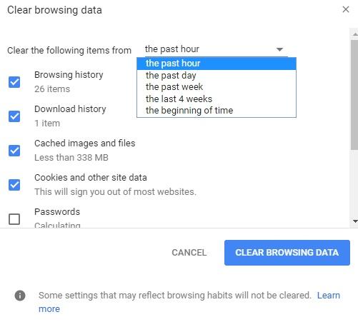 清除谷歌上的浏览数据