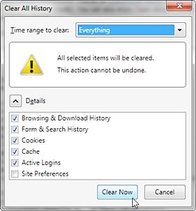 在Firefox中清除Internet文件