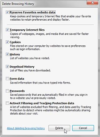 删除IE中的临时文件
