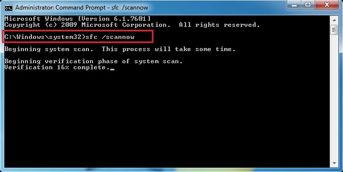 System Fix through scannow command to fix Blue Screen Error 0x00000004