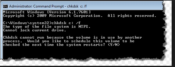 Use CHKDSK to fix blue screen Error 0x00000024