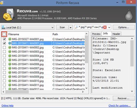 使用Recuva从硬盘恢复丢失的数据