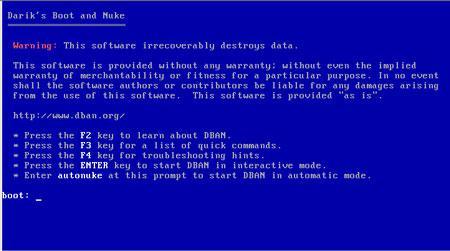 安全删除:Darik的启动和核弹
