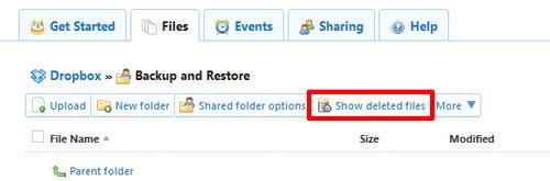 如何恢复Dropbox删除的文件步骤1