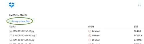 恢复已删除的文件dropbox第2步
