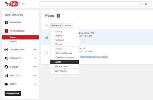 如何删除youtube视频和频道
