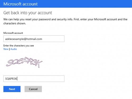 恢复hotmail密码