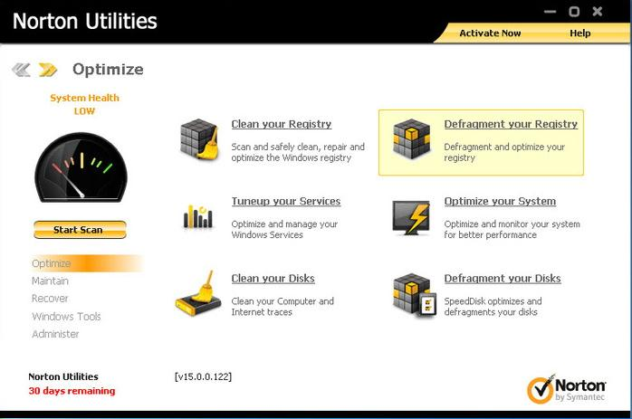 Norton Utilities从Windows中删除不需要的文件