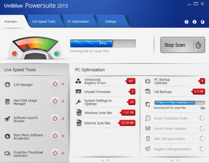 Uniblue PowerSuite从Windows中删除不需要的文件