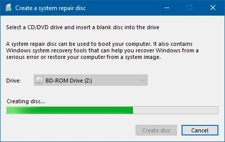 在窗口7中创建系统修复光盘