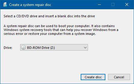 在Windows中创建系统修复光盘
