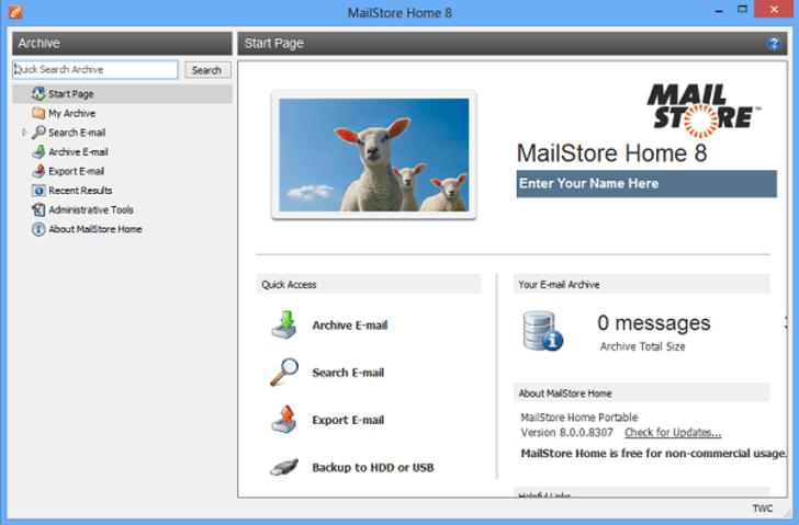 电子邮件备份软件mailstore home