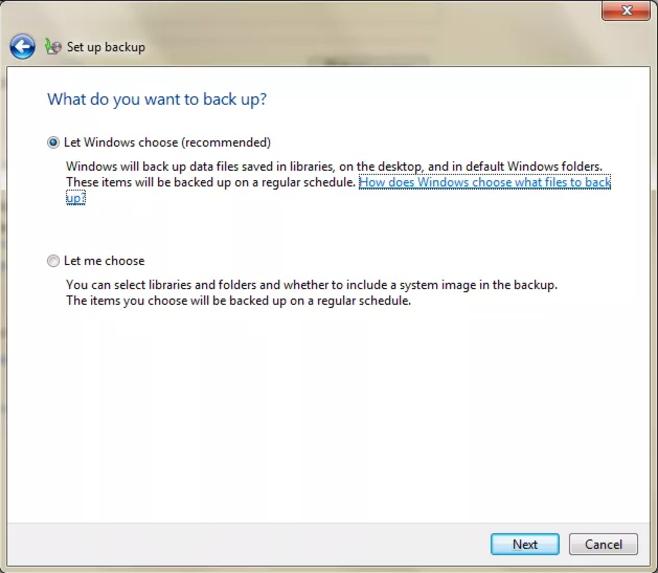 如何使用内置备份工具备份Windows 7  - 步骤5