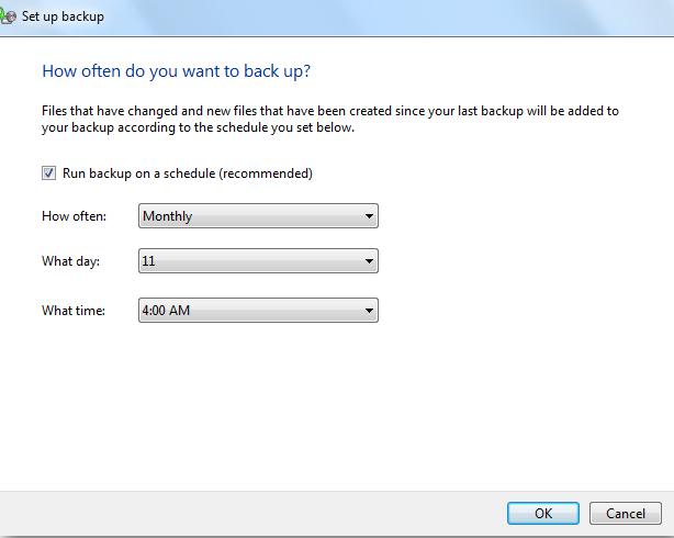 如何使用内置备份工具备份Windows 7  - 步骤6