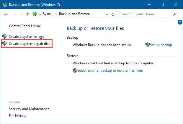 如何在窗口中创建系统修复光盘