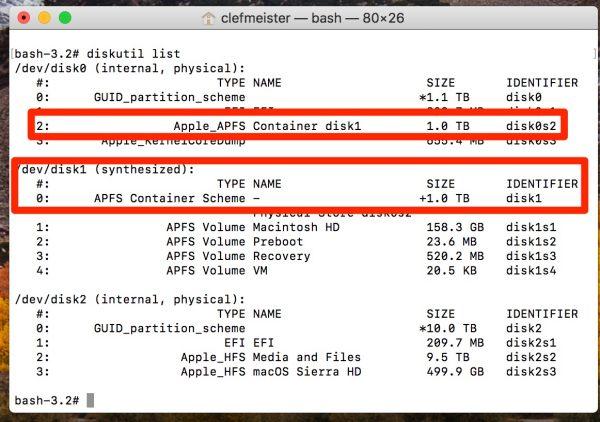 在MacOS High Sierra屏幕截图上调整APFS容器的大小