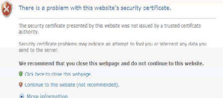 Internet Explorer证书错误