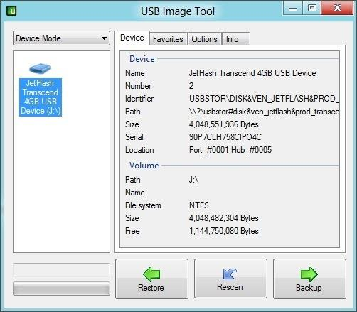 使用USB Image Tool备份数据