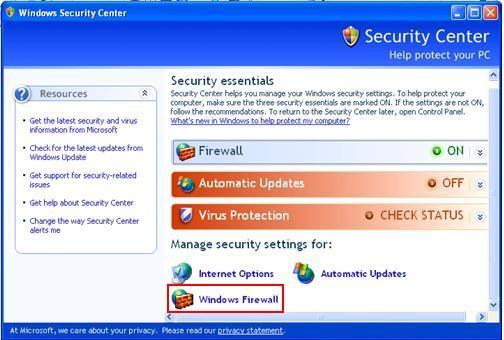 禁用Windows防火墙