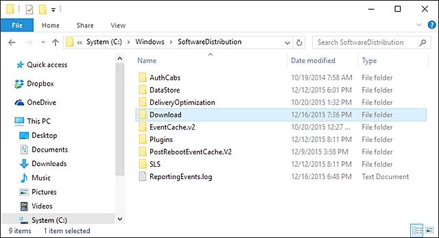 清除Windows 10更新缓存