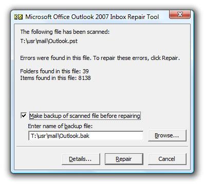 修复损坏的个人文件夹