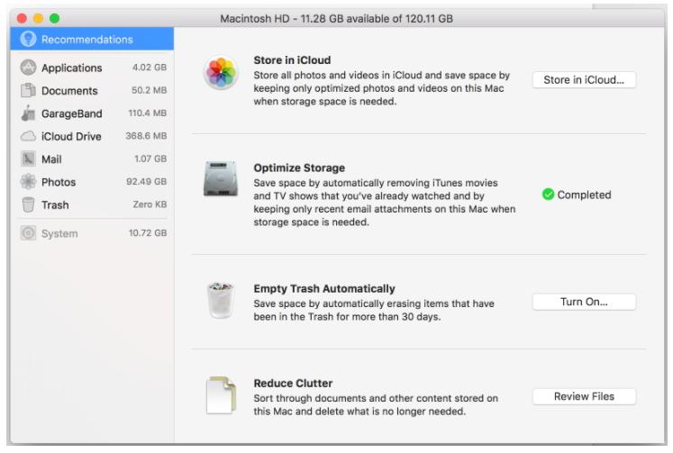 通过10种简单方法修复慢速Mac性能 - 清理磁盘空间