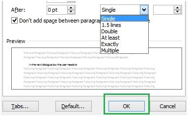 保存Microsoft Word中的行间距更改