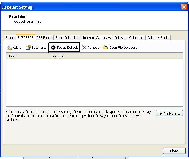 创建新的Outlook pst文件步骤4