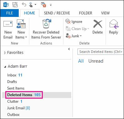 在Outlook步骤1中恢复已删除的联系人