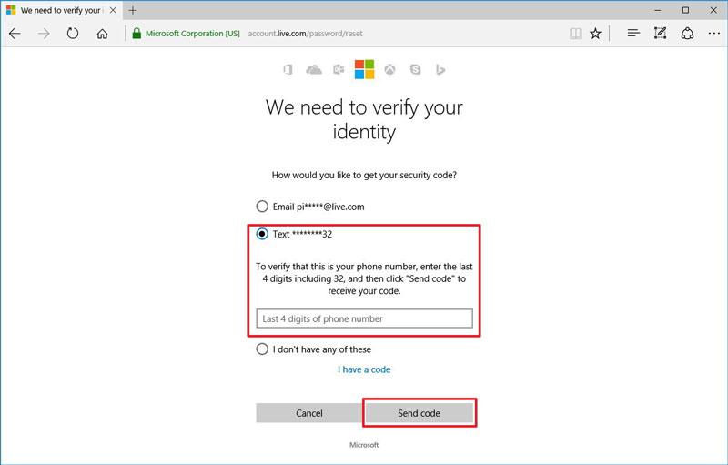 重置Outlook密码步骤2