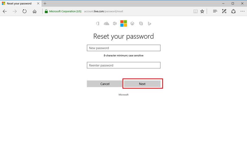 重置Outlook密码步骤1