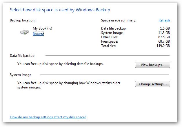 管理Windows 7备份大小