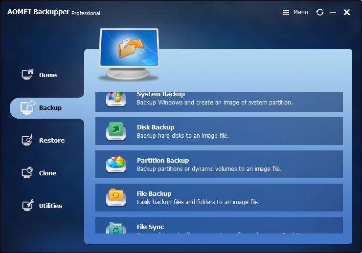 Windows备份软件2018-AOMEI Baackupper