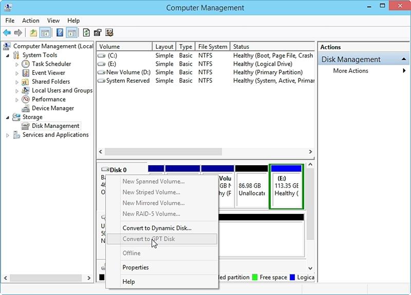 使用磁盘管理将MBR转换为GPT