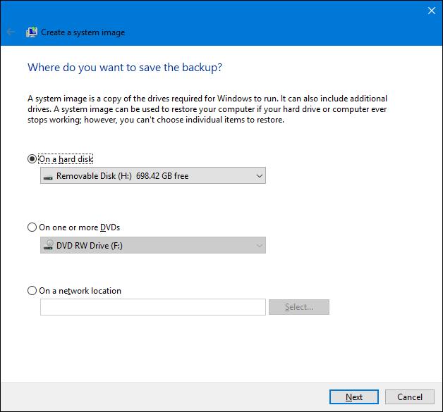Windows中的系统映像备份