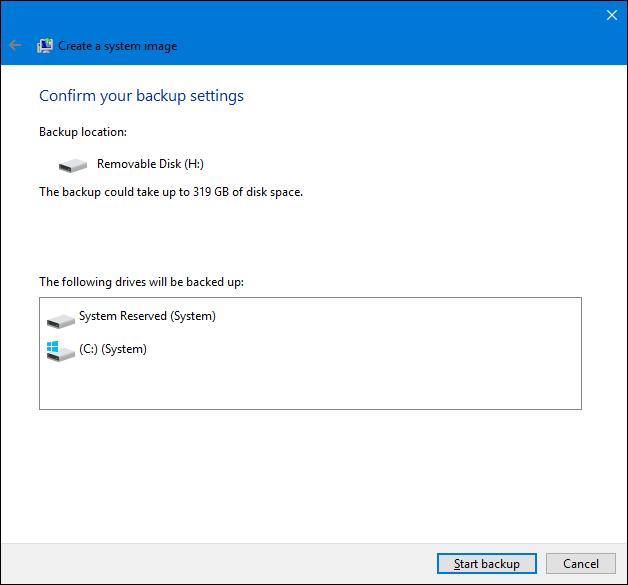 在Windows中创建系统映像备份