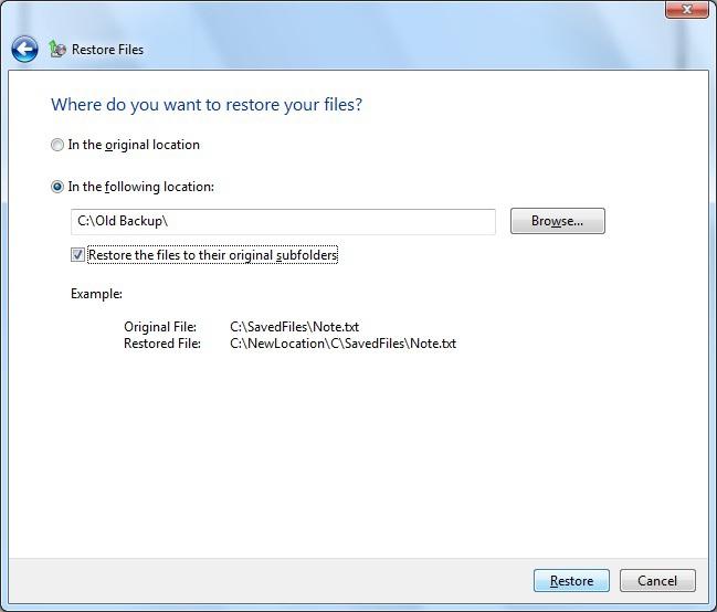 恢复文件原始文件夹