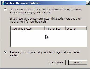 系统恢复选项