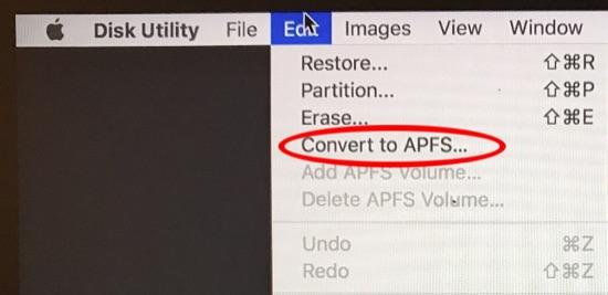 将HFS转换为APFS