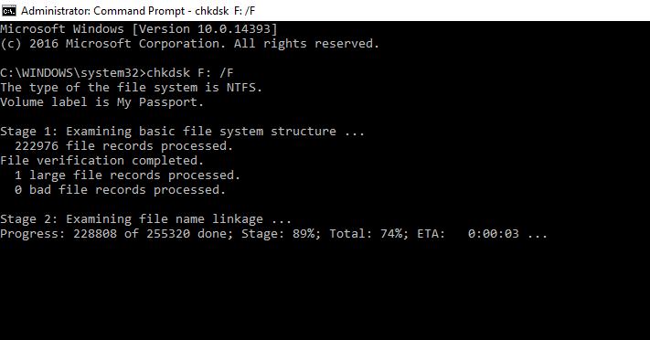 使用CMD恢复损坏的外部硬盘