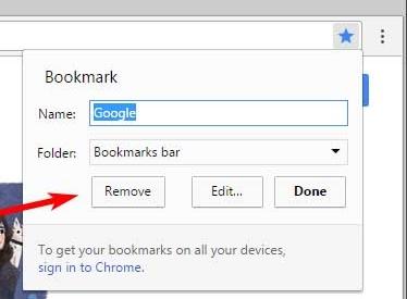 从Chrome中删除书签